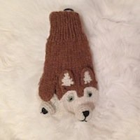 Fox mitten, Alpaca mitten for Children, childs mitten