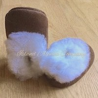 Soft Baby alpaca fur slipper bootie for infant