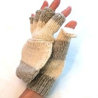 alpaca hooded Wide-Striped Alpaca mitten texting glove