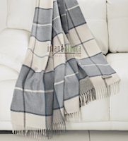 100% Baby alpaca throw soft blue plaid