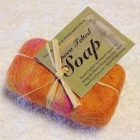 hand felted hand made alpaca Goats milk organic soap bar