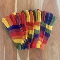 Warm Alpaca Stiped glove for adults