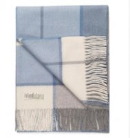 Baby alpaca throw soft blue plaid