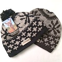 Alpaca snow flake hat with pom, beanie