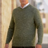 Baby Alpaca Mens Sweater V Neck Linen blend sport
