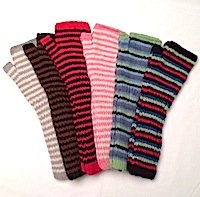 Alpaca Long Arm warmers hand-knit striped warm alpaca