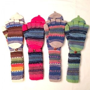 Alpaca hooded mittens long texting flap button adult youth teen