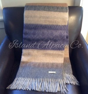 Navy and Naturals Brushed Alpaca Blanket Throw Sale