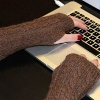 Alpaca cable wrist warmers texting gloves